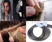 "40pcs 22"" Inches 56cm Long Tape In Seamless Skin Weft PU Remy AAAAA Human Hair Extensions Silver Grey"