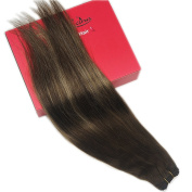 Stella Reina Clip In Hair Extension 120g Full Head Set Balayage Ombre Hair Ash Blonde Highlights Colour #3 To P3/24 Dark Brown With Blonde Balayage Remy Human Hair