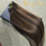 Sunny 60cm 40pcs/100g Two Tone Colour#2 Fading to Dark Brown Mixed Honey Brown Colourful Highlight Balayage Seamless Tape in Human Hair Extensions