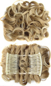 Beauty Wig World BUN Up Do Hair Piece Hair Ribbon Ponytail Extensions Comb Clip Scrunchy Scrunchie Curly or Messy #14T613 Medium blonde/Lightest blonde
