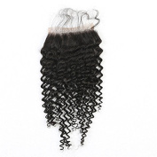 Mxangel Natural Colour Unprocessed 25cm Free Part Brazilian Virgin Human Hair Kinky Curly Lace Closure 4*4