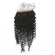Mxangel Natural Colour Unprocessed 25cm Free Part Brazilian Virgin Human Hair Kinky Curly Lace Closure 4*4
