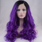 StrongBeauty Sexy Long Ombre Purple Cosplay Fashion Women Lace Wig 60cm
