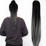 Neverland Beauty 60cm Claw on Ombre Two Tone Synthetic Long Straight Ponytail Hair Extensions Black to Dark Grey