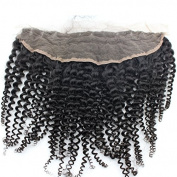 Brazilian Kinky Curly Lace Frontal Closure 13X4 Ear To Ear Frontal With Baby Hair Natural Colour Unprocessed