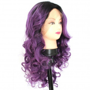 V'Nice® Fashion Women's Purple Ombre Wig Dark Roots Long Wavy Curly Synthetic Lace Front Wigs