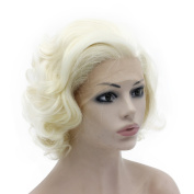 Mxangel Heat Resistant Half Hand Tied Light Blond Synthetic Lace Front Natural Short Stylish Curly Wig