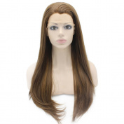 Mxangel Long Straight Half Hand Highlight Brown Synthetic Lace Front Wig Natural