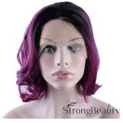 StrongBeauty 30cm Stylish Women Short Wavy Bob Wig Violet Fancy Dress Lace Wig