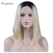 StrongBeauty Fashion Bob Short Straight Wig Black Root To Blonde Synthetic Lady Wig 30cm