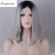 StrongBeauty Silver Grey Mixed Black Short Bob Straight Hair For Fashion Women 30cm