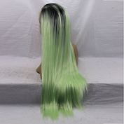V'Nice® Ombre Mint Green Synthetic Lace Front Wig Silky Straight Heat Resistant Fibres Middle Parting Synthetic Hair Wig for Women