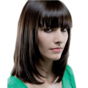 Styler Synthetic Medium Long Bob Wigs for Women Human Hair Wigs with Flat Bangs
