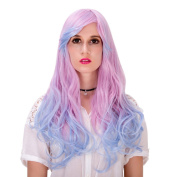 Cosplay Wigs Long Pink Blue Mixed Wigs Curly Wavy Sexy Lady WigS Costume Party