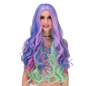 Women'S Rainbow Long Full Curly Wavy Hair Wig Fashion Cosplay /Party Costume Wig