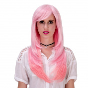 Women Long Straight Hair Full Wig Costume Party Wigs Pink Gradient Free Wig Cap