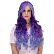 Blue Purple Gradient Long Curly Wavy Synthetic Hair Cosplay Wig + Cap Lolita Wig