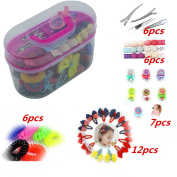 2 Layer Girls Hair Accessories Gift Box with Lot of Hair clips elastic hair tie candy clips Hair Bows alligator clips