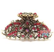 Beautyxyz Womans Metal Multi colour rhinestones flower hair claw clips pins