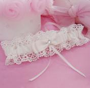 Rimobul Lace Wedding Garter with Satin Bow - Cream