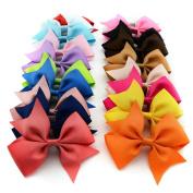 20PCS 10cm Wholesale Multicolor Girl's Baby's Ribbon Bowknot Hair Bow Hair Clips