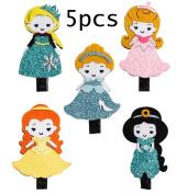MANDI HOME 5pc Toddler Princess Theme Hair Barrettes Set