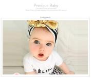 MANDI HOME Baby Girl's Fashion Black Stripe Gold Bow Hair Hair Bands