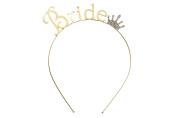 "Rosemarie Collections Women's Bachelorette Party Tiara Headband Gold Tone ""Bride"""