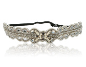 Bridal Thin Pearl Crystal Rhinestone Diamond Headband Adjustable Elastic Headband