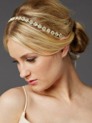Mariell 14K Gold Plated Bridal Headband in Genuine Preciosa Crystals and Ivory Ribbon