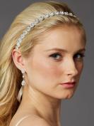 Mariell Sliver Bridal Headband in Genuine Preciosa Crystals and Ivory Ribbon