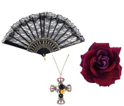 Gothic Day Of Dead Flamenco Dark Red Rose + Black Lace Fan +Cross Skull Necklace