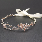 Mariell Bridal Headband with Freshwater Pearls and Hand Painted Rose Gold and Silver Leaves