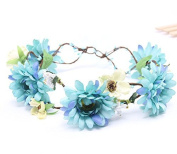 Meiliy Daisy Flower Garland Crown Flower Headband Hair Wreath with Adjustable Ribbon for Wedding Festivals