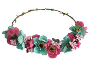 ACVIP Women's Multi-coloured Tropical Flowers Wedding Bridesmaid Flower Girl Headband