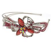 Beautyxyz silver tone high quality pink colour rhinestone crystal flowers headband