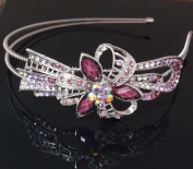 Beautyxyz silver tone high quality purple colour rhinestone crystal flowers headband