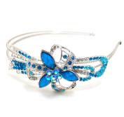 Beautyxyz silver tone high quality BLUE colour rhinestone crystal flowers headband