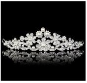 Crystal Rhinestone Crown Tiara Wedding Bridal Princess Party Faux Pearl Flower Headband