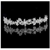 Crystal Rhinestone Flower Crown Headband Women Wedding Bridal Princess Tiara Hairband