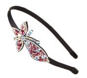 YABINA Women Crystal Rhinestone Butterfly Hair Metal Band Hoop Headband