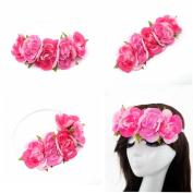 AWAYTR Blooming Wild Camellia Flower Crown Headband Garland Halo Elastic Bands Hair Accessories