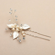 Mariell Bridal Hair Pin with Hand-Painted Silver Leaves, Freshwater Pearl and Crystal Sprays
