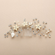 Mariell Bridal Hair Comb with Hand Painted Silver Leaves, Freshwater Pearls and Crystals Sprays