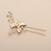 Mariell Bridal Hair Pin with Hand-Painted Silvery Gold Leaves, Freshwater Pearl and Crystal Sprays