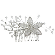 Newstarfactory Handmade Floral Spray Crystal Hair Comb with Exclusive Gift