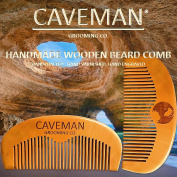 Handcrafted Natural Fine Tooth Wooden Pocket Beard Comb by Caveman® All Hair
