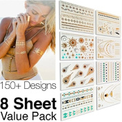 Bhbuy High Gloss Shimmer Effect Metallic Temporary Tattoos 150 kinds Designs Gold Silver Temporary Tattoos - 8 Sheet Pack