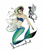 4 Sheets Waterproof Temporary Tattoos Sticker Removable Body Art Fake Tattoo Paper Arm Sleeve Cover Mermaid