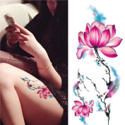 1 Sheet Waterproof Temporary Tattoo Sticker Watercolour Lotus Pattern DIY Arm Body Art Decal
